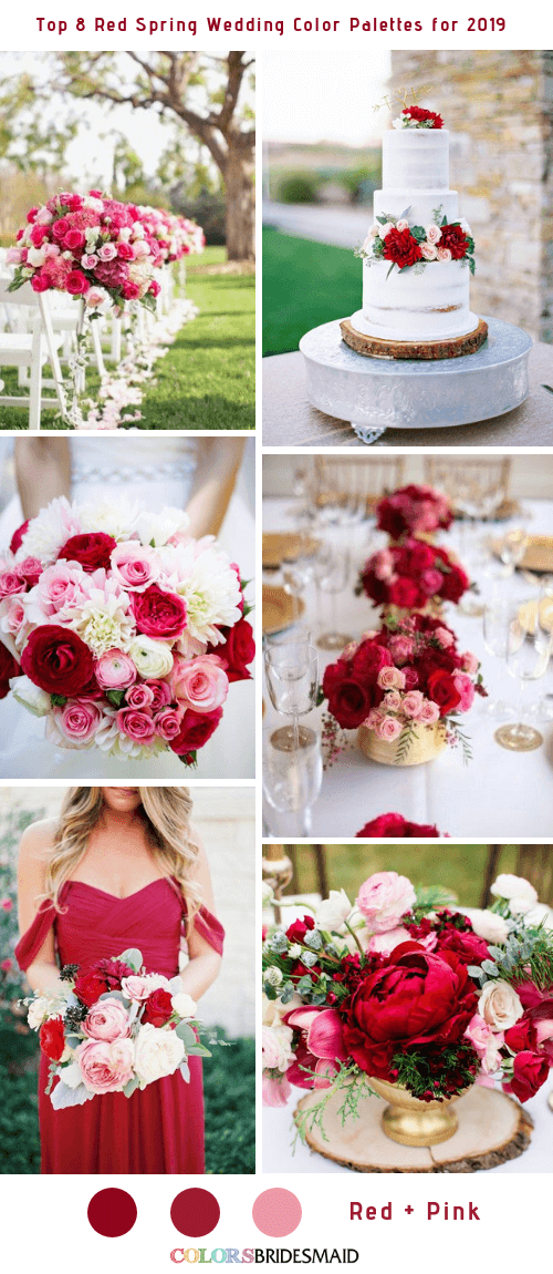 Top 8 Red Spring Wedding Color Palettes for 2019 - Red and Pink