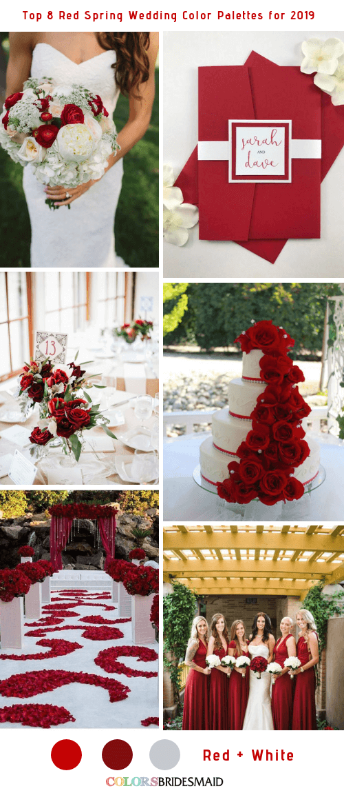 Top 8 Red Spring Wedding Color Palettes for 2019 - Red and White