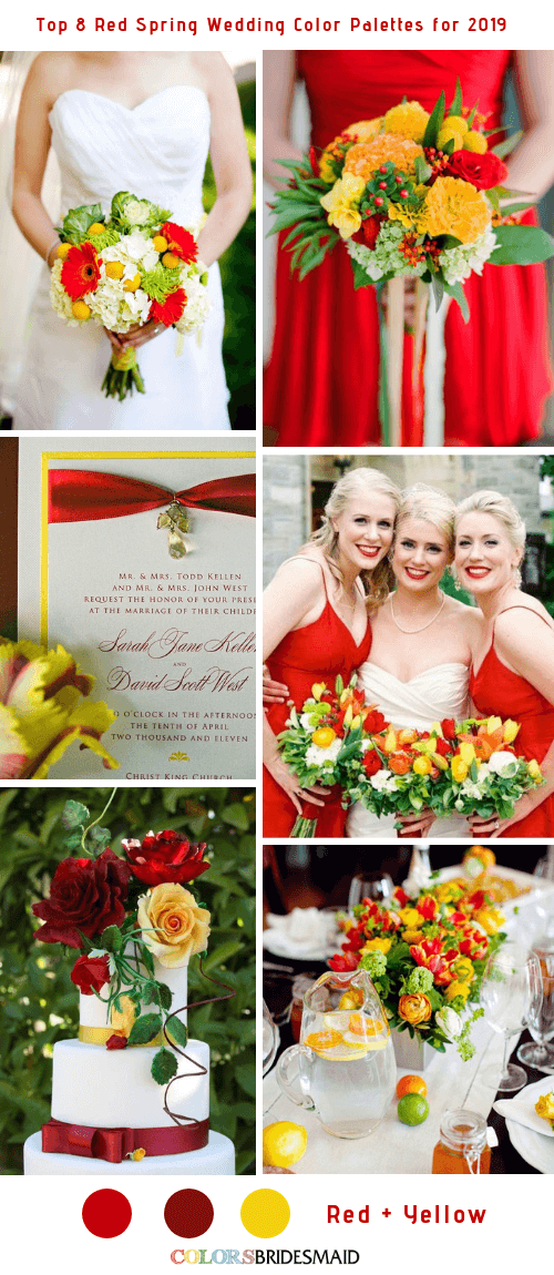 Top 8 Red Spring Wedding Color Palettes for 2019 - Red and Yellow