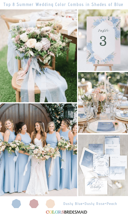 Wedding Colors For Summer.Top 8 Summer Wedding Color Combos In Shades Of Blue For 2019