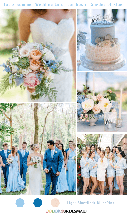 Top 8 Summer Wedding Color Combos in Shades of Blue for 2019 - Light Blue