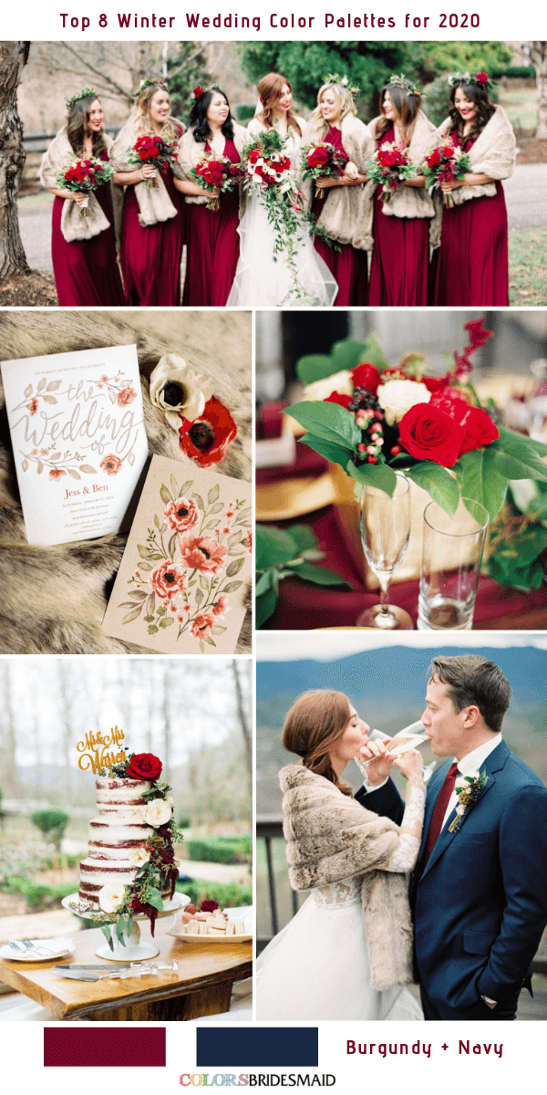 Top 8 Winter Wedding Color Combos for 2020 - Burgundy + Navy Blue