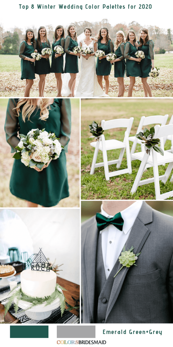 Top 8 Winter Wedding Color Combos for 2020 - Emerald Green + Grey