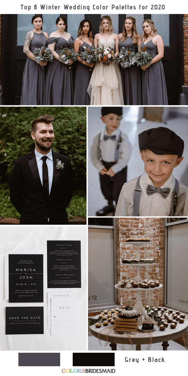 Top 8 Winter Wedding Color Combos for 2020 - Grey + Black