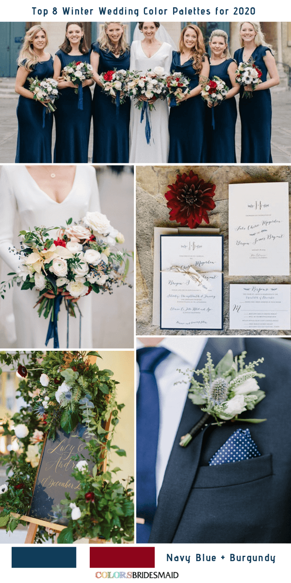 Top 8 Winter Wedding Color Combos for 2020 - Navy Blue + Burgundy
