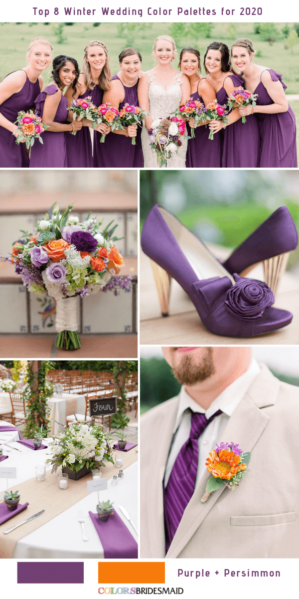 Top 8 Winter Wedding Color Combos for 2020 - Purple + Persimmon