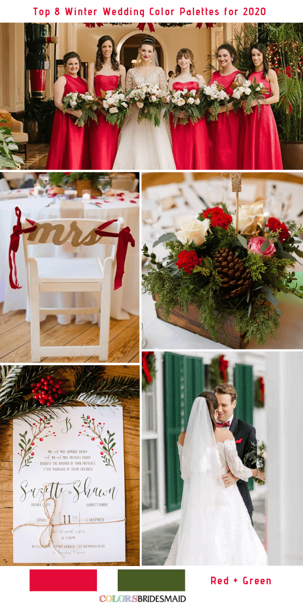 Top 8 Winter Wedding Color Combos for 2020 - Red + Green