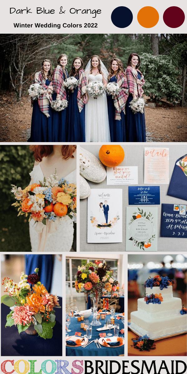 Winter Wedding Colors 2022 Dark Blue and Orange