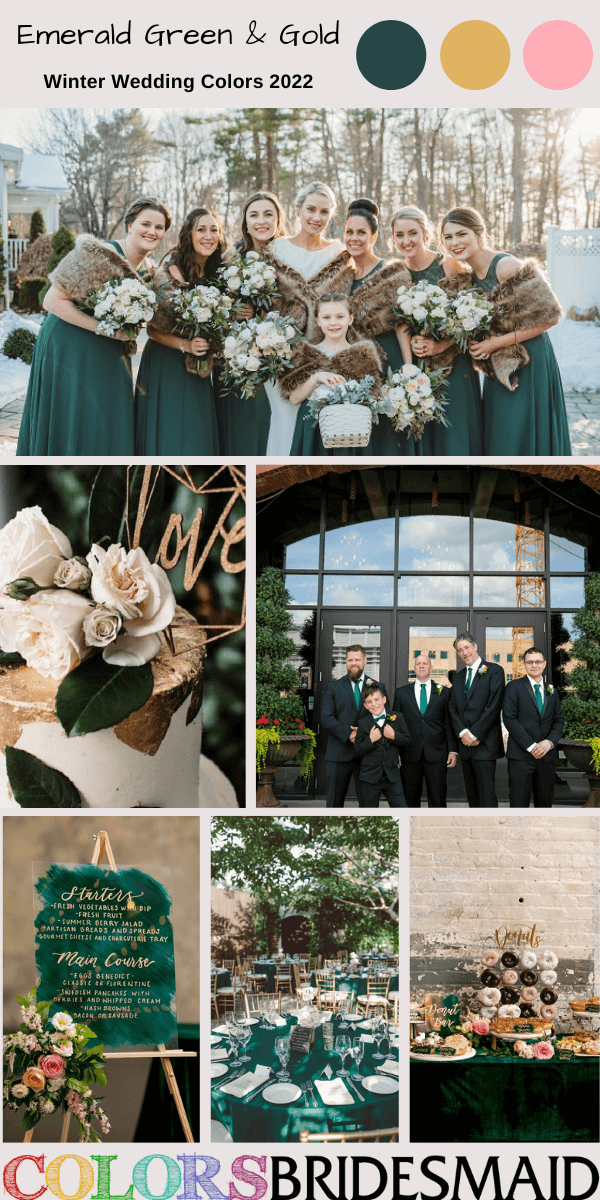 Winter Wedding Colors 2022 Emerald Green and Gold