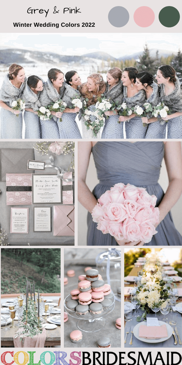Winter Wedding Colors 2022 Grey and Pink