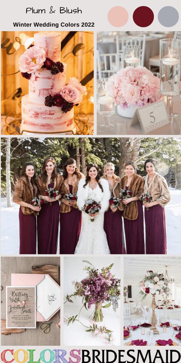 Winter Wedding Colors 2022 Plum and Blush