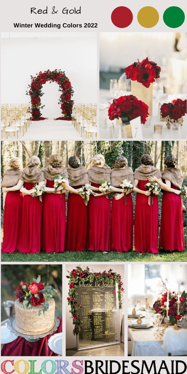 Winter Wedding Colors 2022 Red and Gold