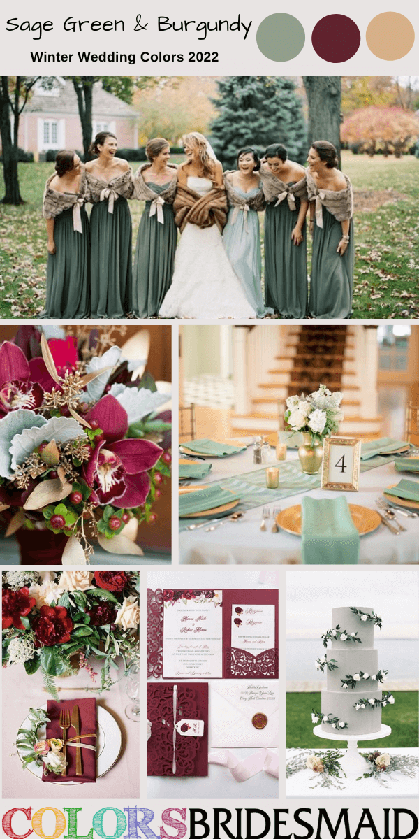 Winter Wedding Colors 2022 Sage Green and Burgundy
