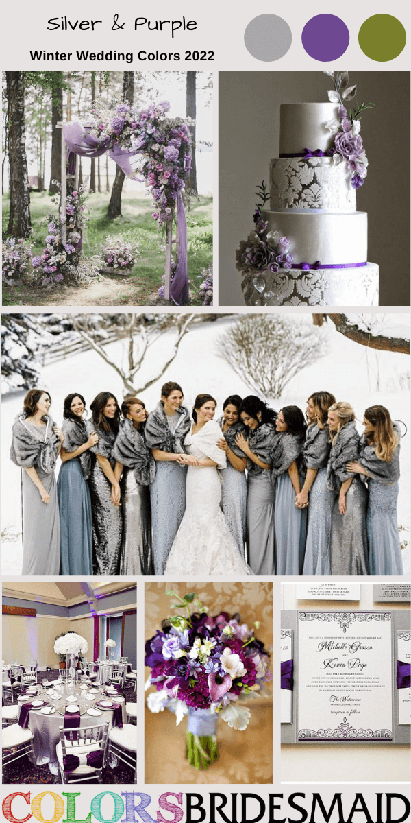 Winter Wedding Colors 2022 Silver and Purple