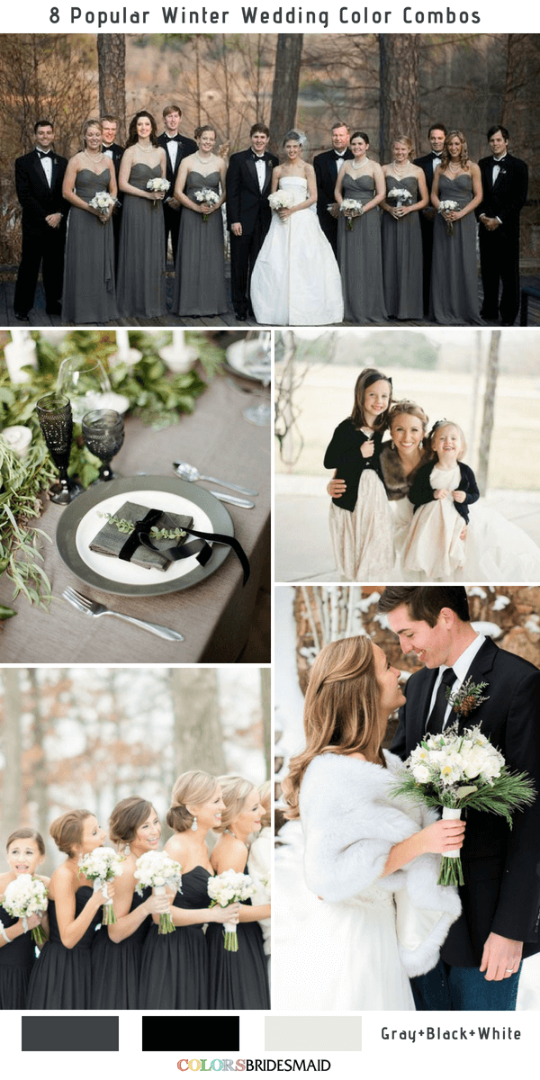 Winter Wedding Color Combos for 2018 - Gray, Black and White