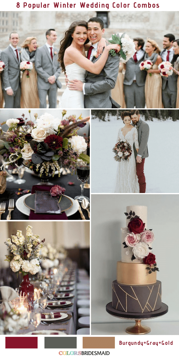 Winter Wedding Color Combos For 2018 Burgundy Gray And Gold