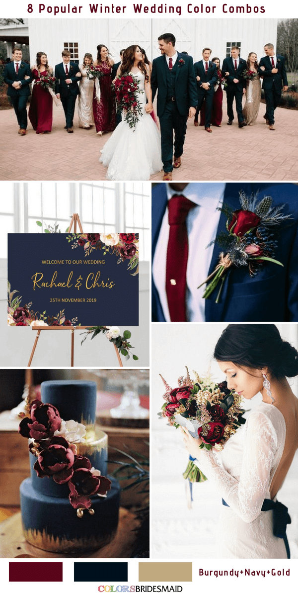 Winter Wedding Color Combos for 2019 - Burgundy, Navy and Gold
