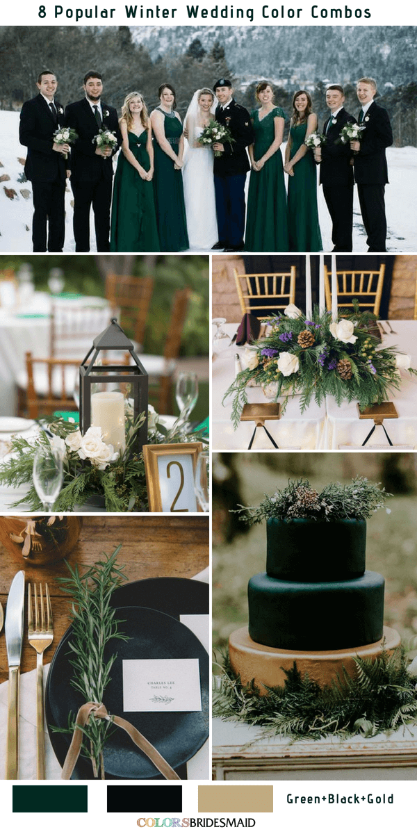 Winter Wedding Color Combos for 2019 - Green, Black and Gold