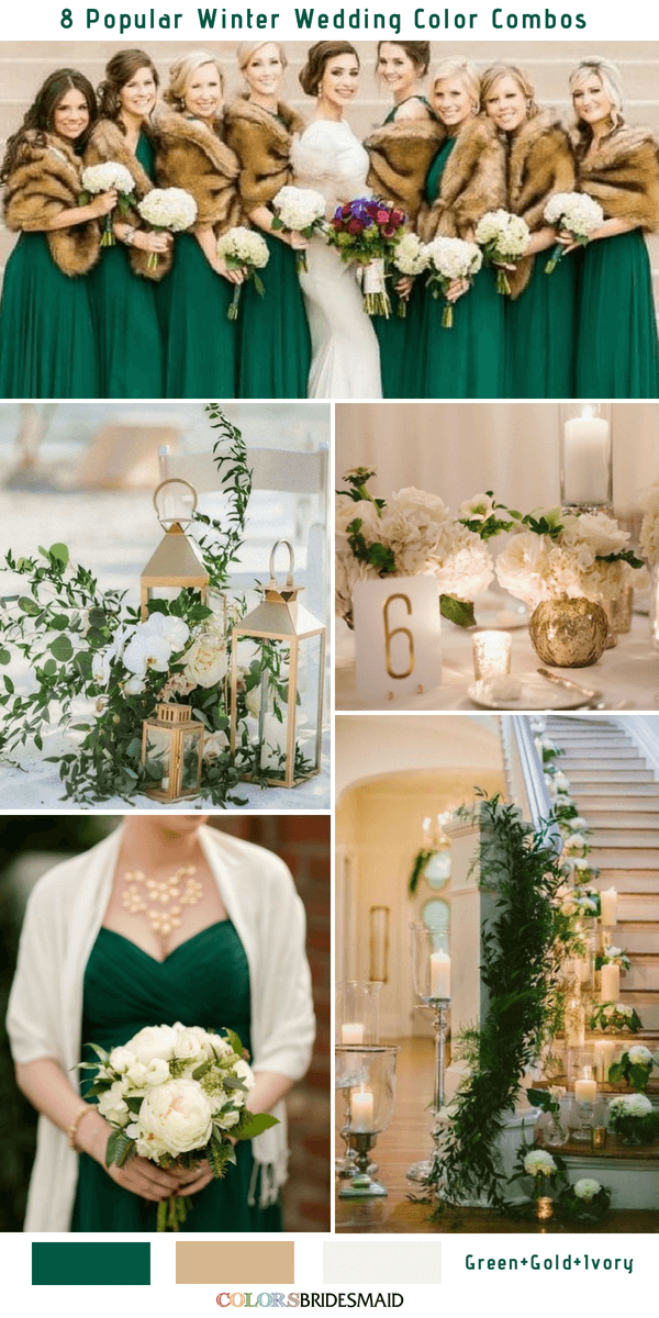 Winter Wedding Color Combos for 2018 - Green, Gold and Ivory