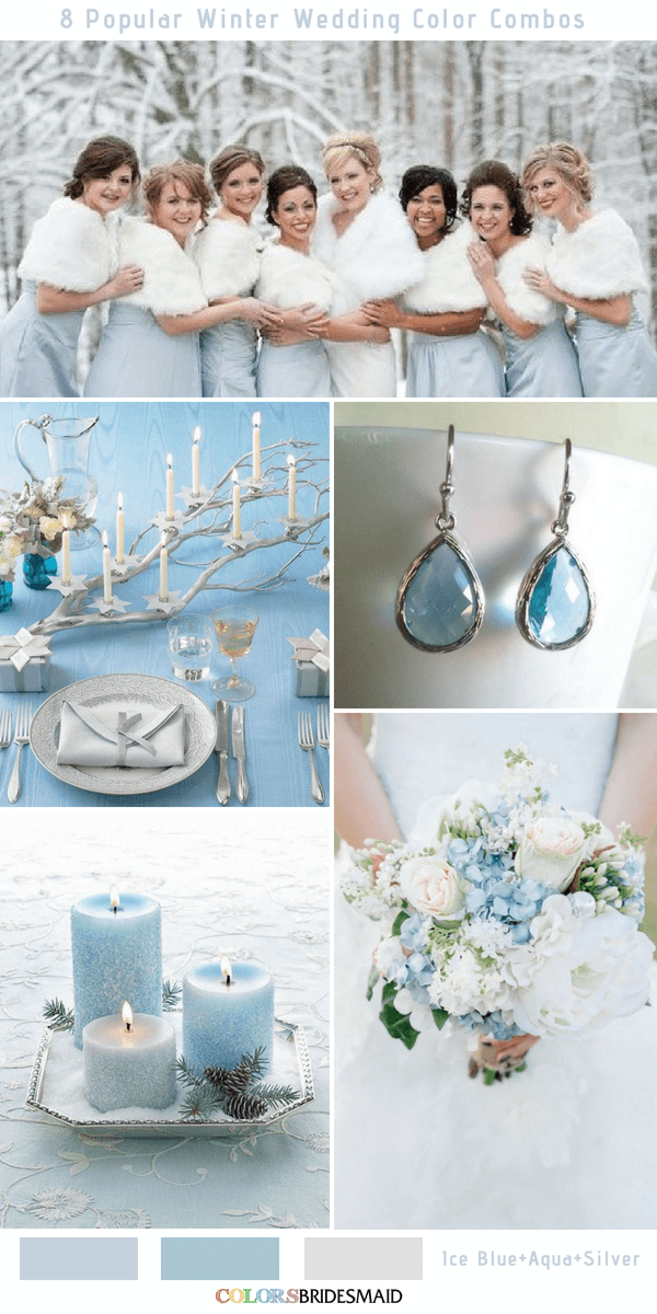 Winter Wedding Color Combos for 2018 - Ice Blue, Aqua and