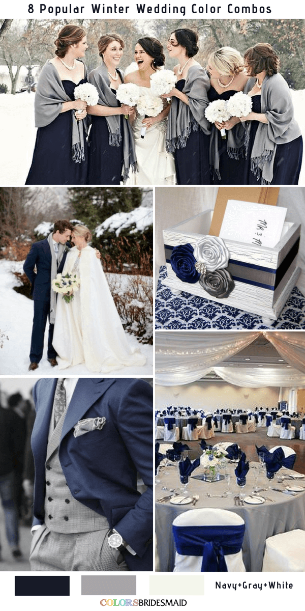 Winter Wedding Color Combos for 2018 - Navy Blue, Gray and White