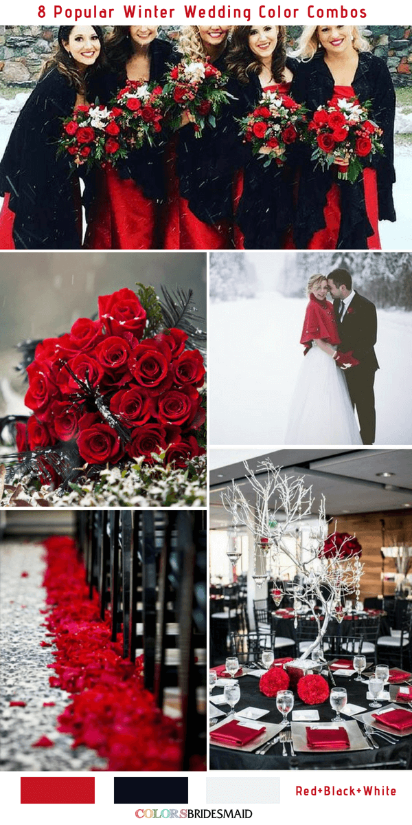 Winter Wedding Color Combos for 2018 - Red, Black and White