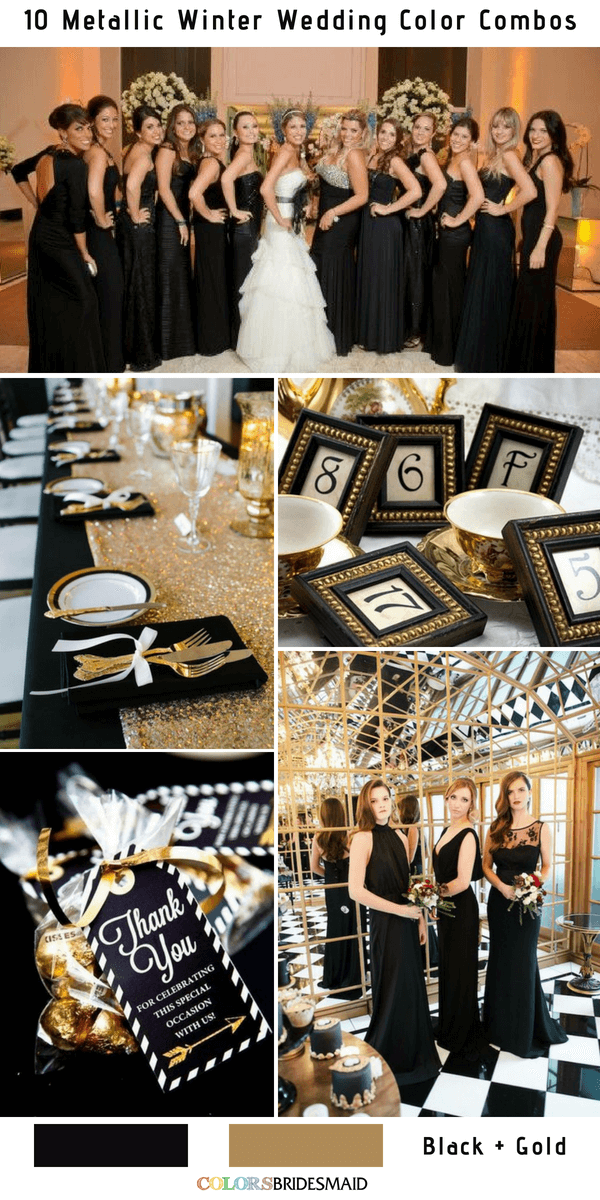 10 Classic Metallic Winter Color Combos - Black and Gold