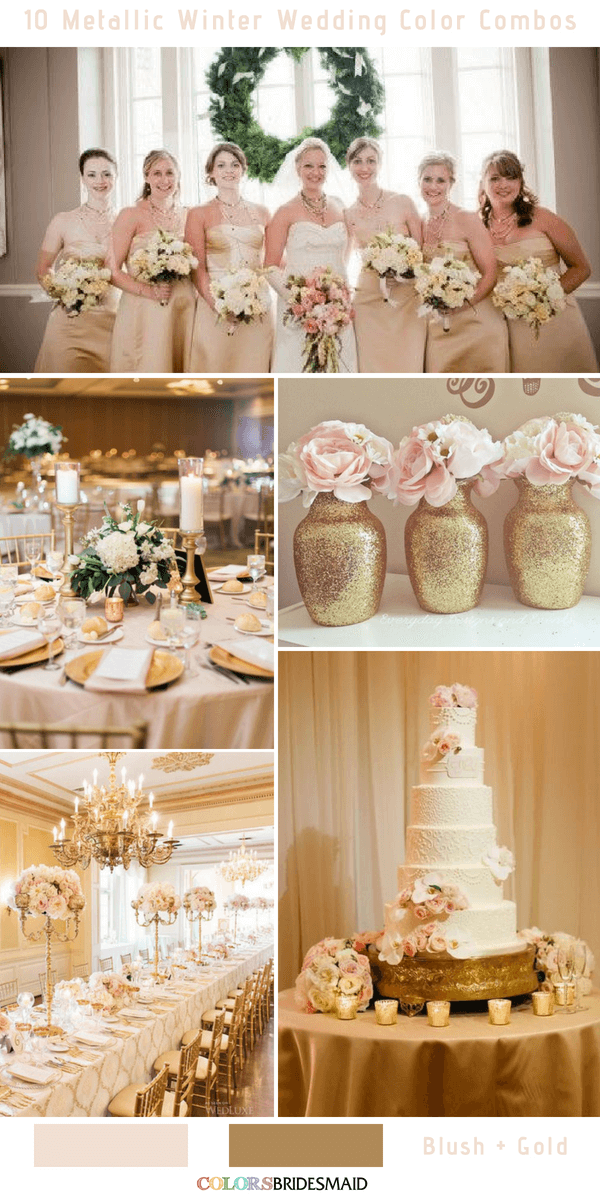 10 Classic Metallic Winter Color Combos - Blush and Gold