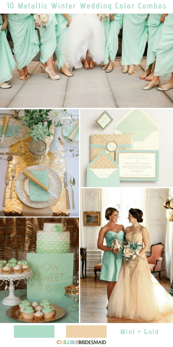 10 Classic Metallic Winter Color Combos - Mint and Gold