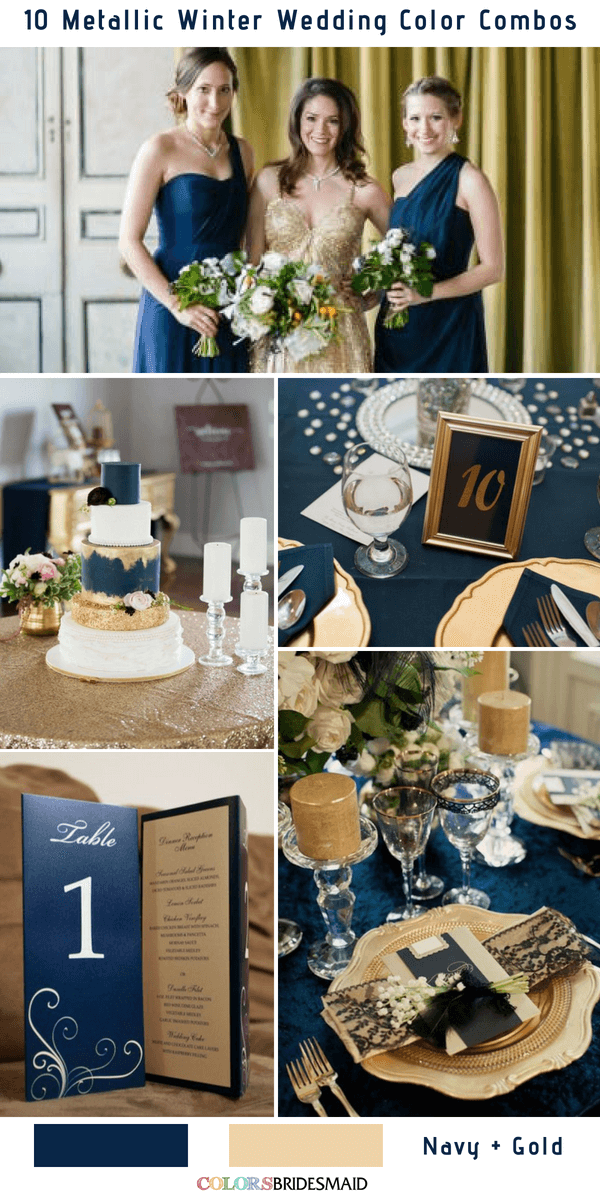 10 Classic Metallic Winter Color Combos - Navly Blue and Gold