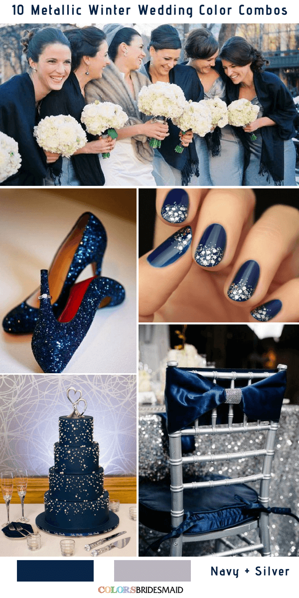 10 Classic Metallic Winter Color Combos - Navy and Silver