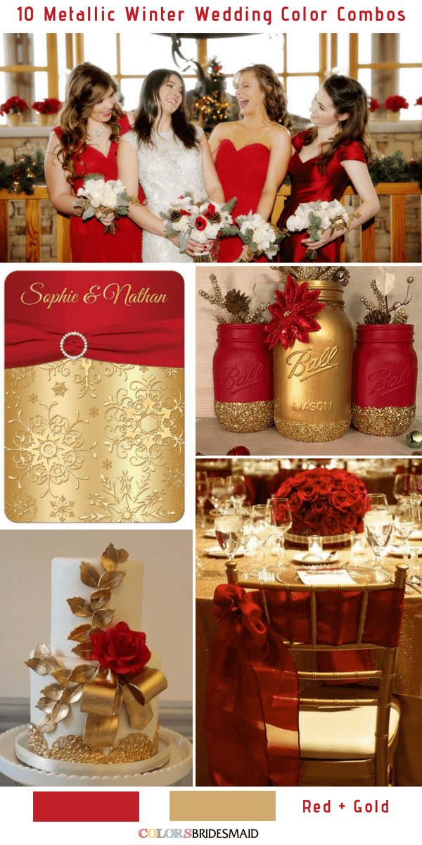 10 Classic Metallic Winter Color Combos - Red and Gold