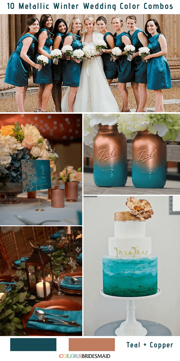 10 Classic Metallic Winter Color Combos - Teal and Copper