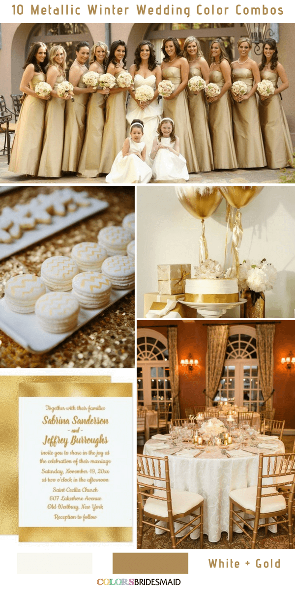 10 Classic Metallic Winter Color Combos - White and Gold
