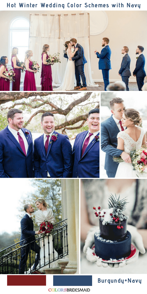 9 Gorgeous Navy Blue Winter Wedding Color Palettes - Navy Blue and Burgundy