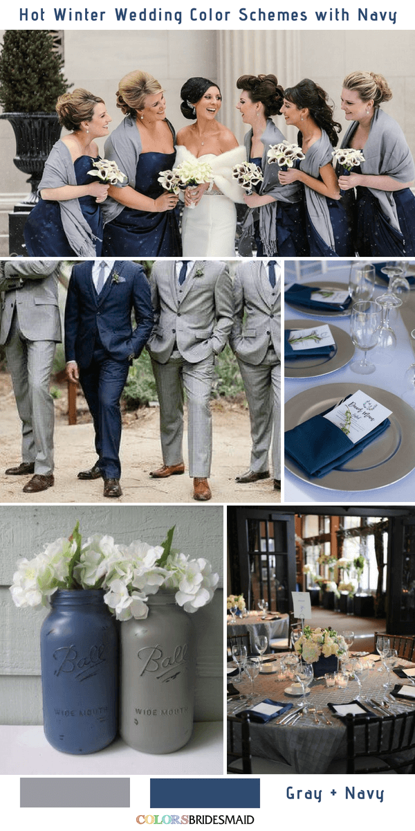9 Gorgeous Navy Blue Winter Wedding Color Palettes - Navy Blue and Gray