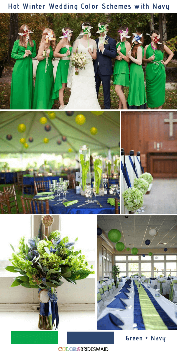 9 Gorgeous Navy Blue Winter Wedding Color Palettes - Navy Blue and Green