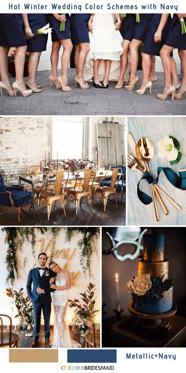 9 Gorgeous Navy Blue Winter Wedding Color Palettes - Navy Blue and Metallic