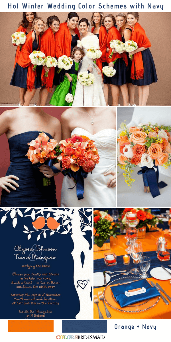 9 Gorgeous Navy Blue Winter Wedding Color Palettes - Navy Blue and Orange
