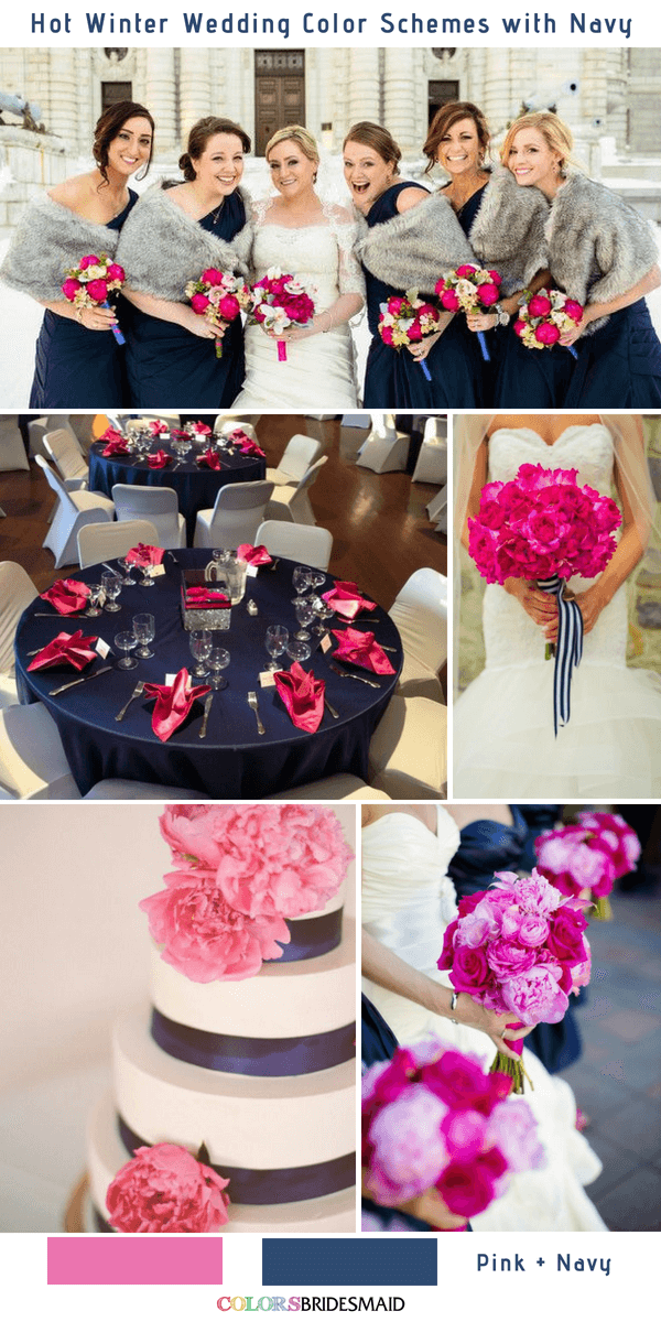 9 Gorgeous Navy Blue Winter Wedding Color Palettes - Navy Blue and Pink