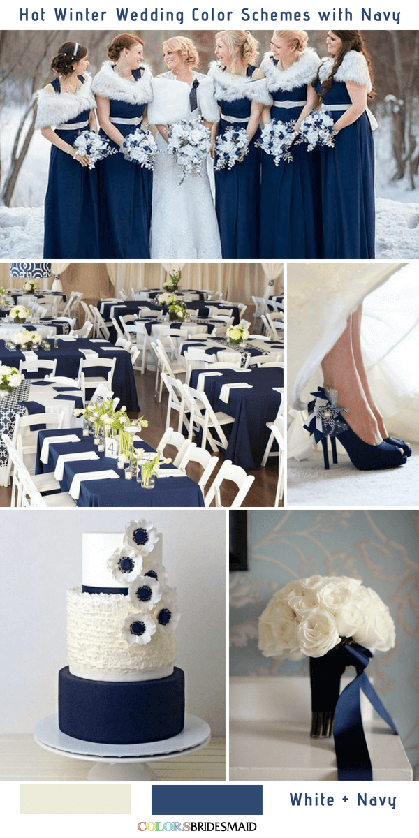 9 Gorgeous Navy Blue Winter Wedding Color Palettes - Navy Blue and White