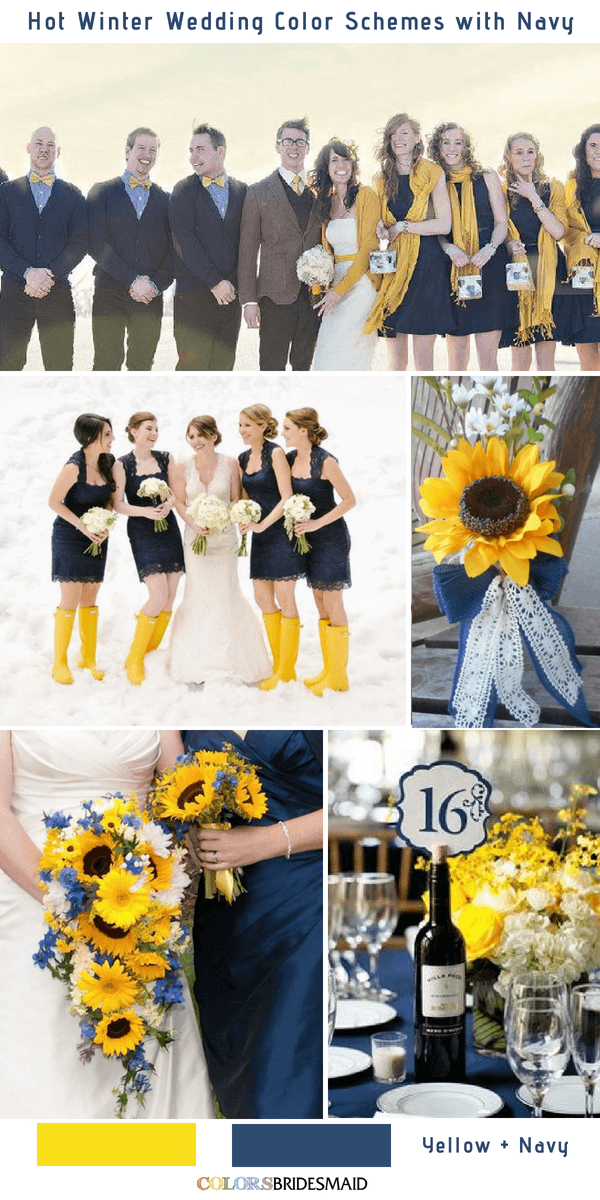 9 Gorgeous Navy Blue Winter Wedding Color Palettes - Navy Blue and Yellow