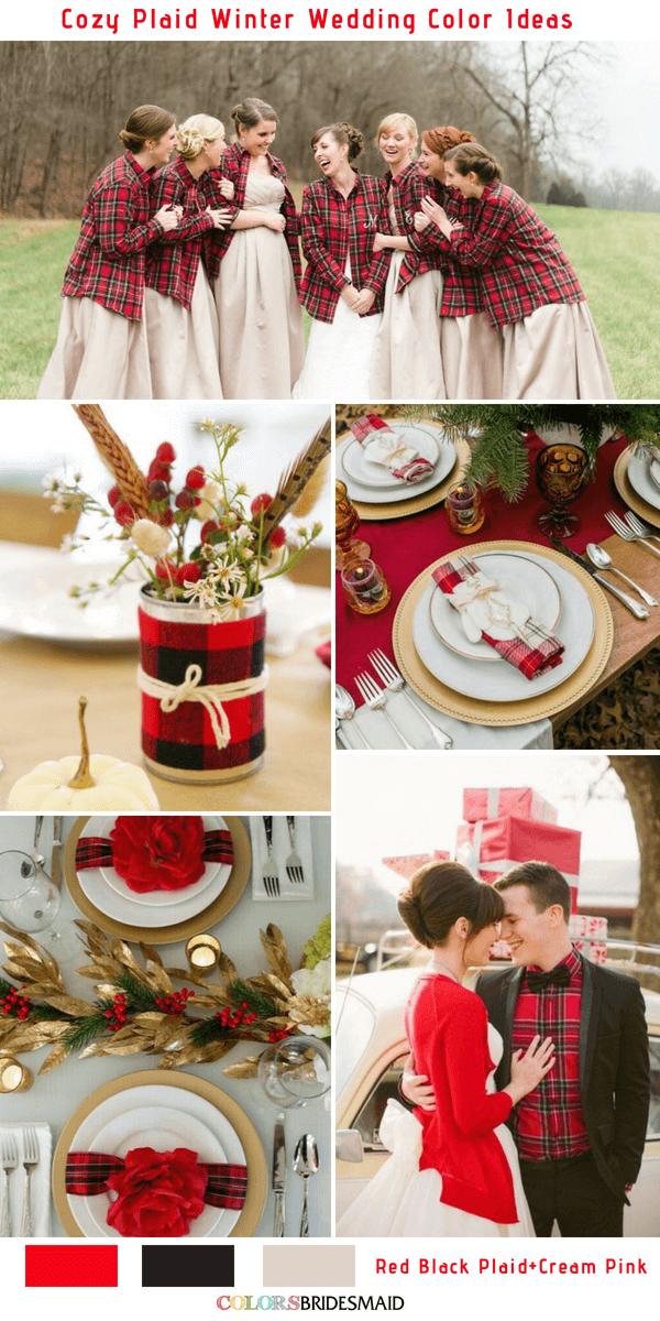 Cozy Plaid Winter Wedding Colors Inspiration 5 Plaid Wedding Color