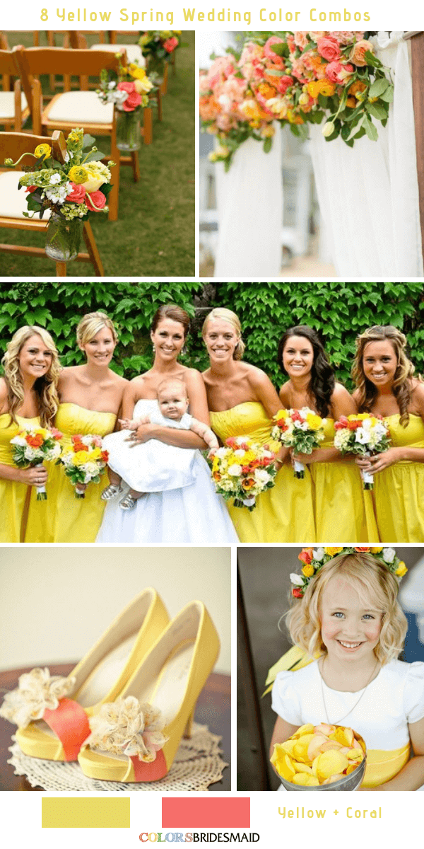 9 Gorgeous Yellow Spring Wedding Color Combos -  Yellow and Coral