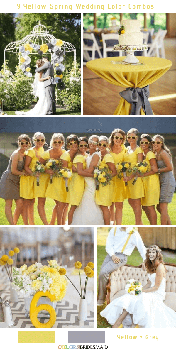 9 Gorgeous Yellow Spring Wedding Color Combos -  Yellow and Grey