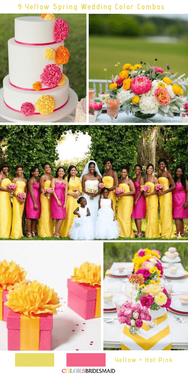 9 Gorgeous Yellow Spring Wedding Color Combos -  Yellow and Rose Pink