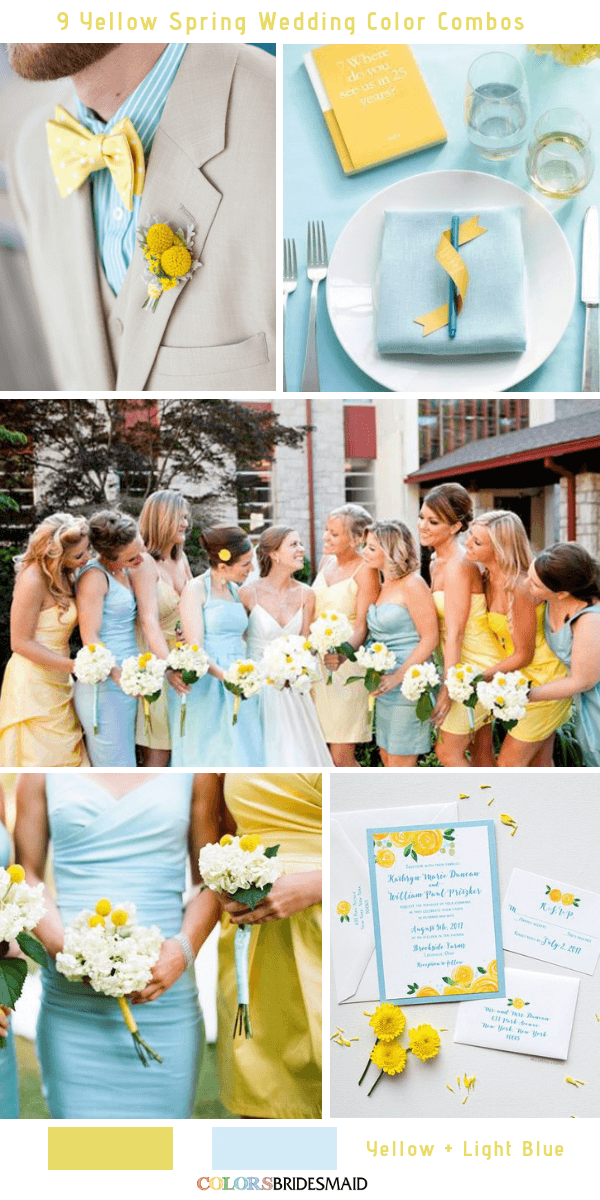 9 Gorgeous Yellow Spring Wedding Color Combos -  Yellow and Light Blue