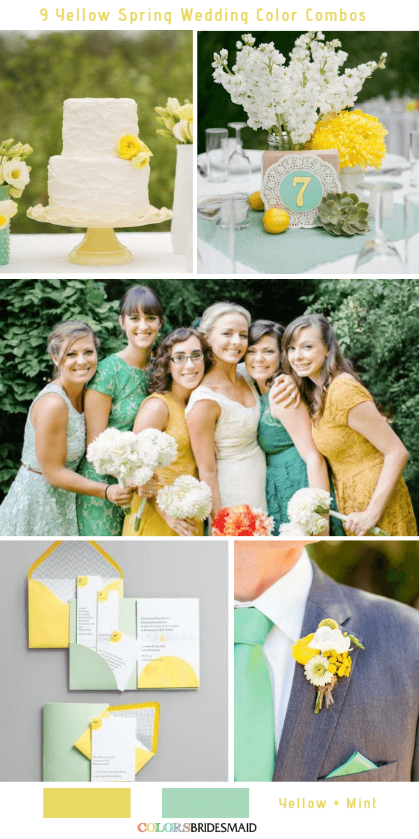 9 Gorgeous Yellow Spring Wedding Color Combos -  Yellow and Mint