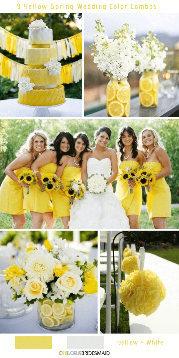 9 Gorgeous Yellow Spring Wedding Color Combos -  Yellow and White